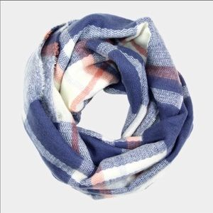 NEW Soft Blue & Red Plaid Infinity Scarf - OS